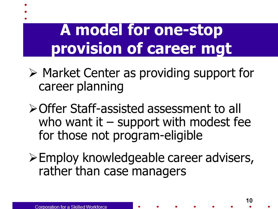 Corporation for a Skilled Workforce 10 A model for one-stop provision of career mgt  Market Center as providing support for career planning  Offer S