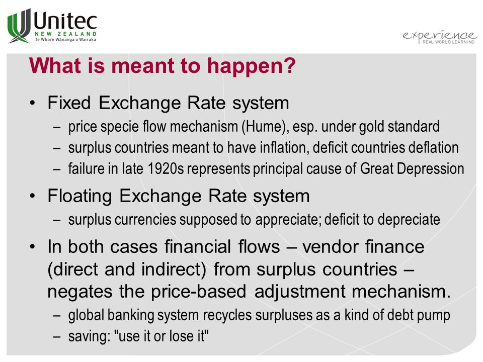 What is meant to happen. Fixed Exchange Rate system –price specie flow mechanism (Hume), esp.