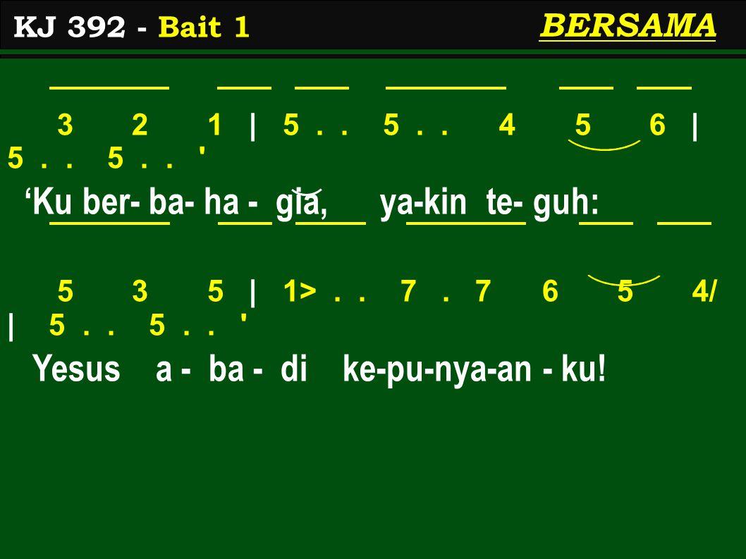 3 2 1 | 5.. 5.. 4 5 6 | 5.. 5.. 'Ku ber- ba- ha - gia, ya-kin te- guh: 5 3 5 | 1>..