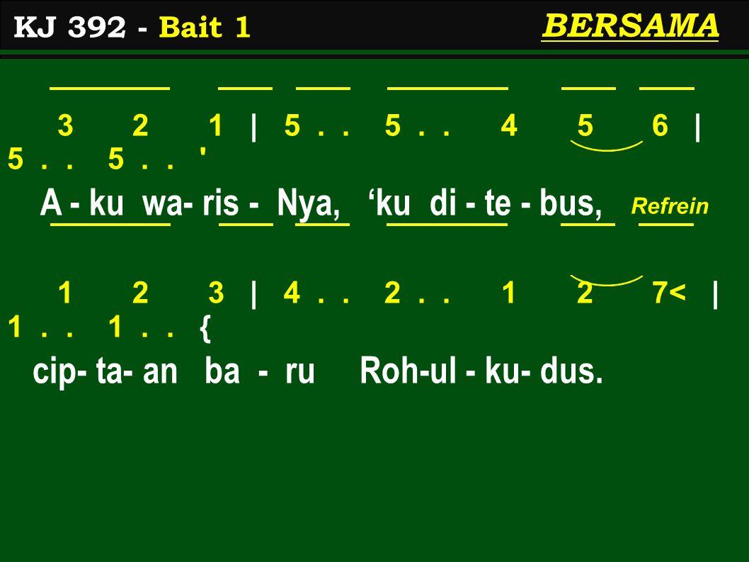 3 2 1 | 5.. 5.. 4 5 6 | 5.. 5.. ' A - ku wa- ris - Nya, 'ku di - te - bus, 1 2 3 | 4.. 2.. 1 2 7< | 1.. 1.. { cip- ta- an ba - ru Roh-ul - ku- dus. KJ