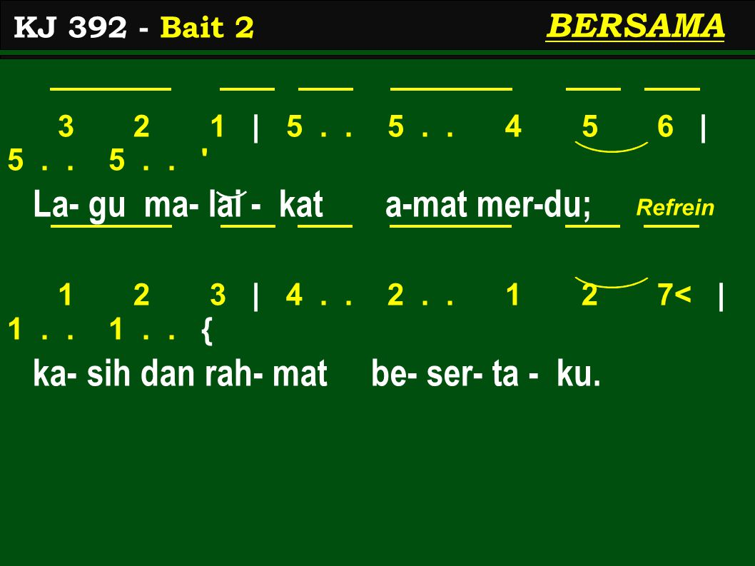 3 2 1 | 5.. 5.. 4 5 6 | 5.. 5.. La- gu ma- lai - kat a-mat mer-du; 1 2 3 | 4..