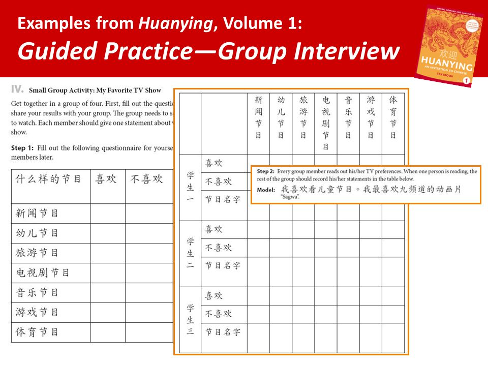 Examples from Huanying, Volume 1: Guided Practice—Group Interview