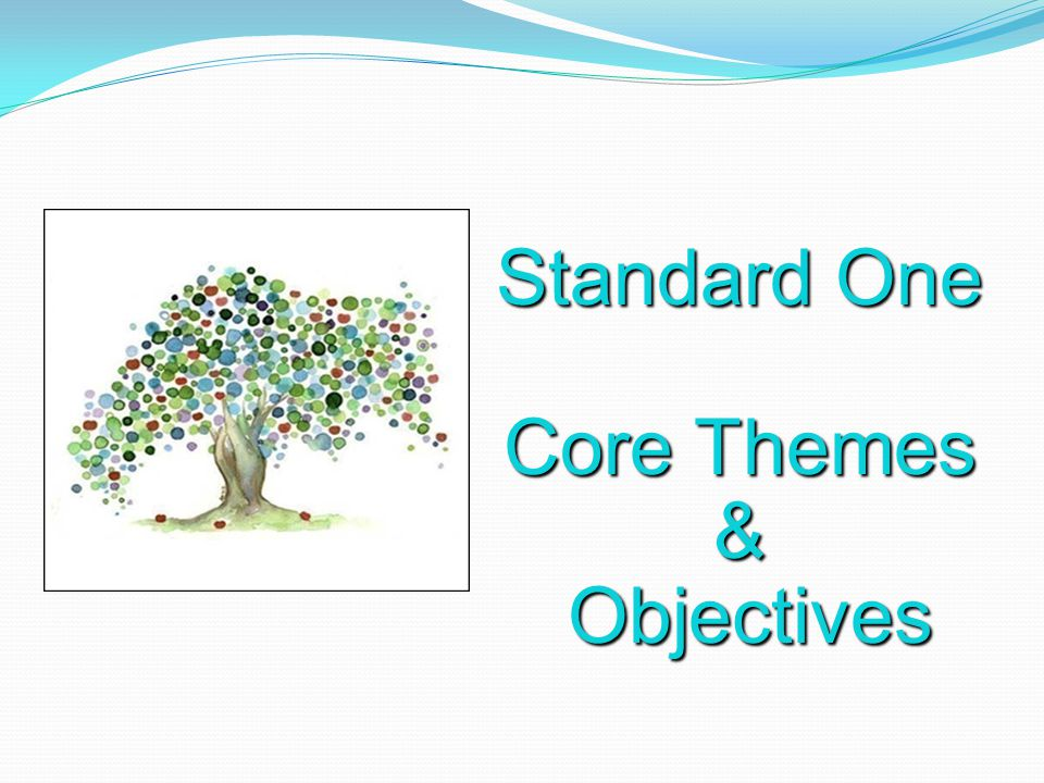 Standard One Core Themes & Objectives Objectives