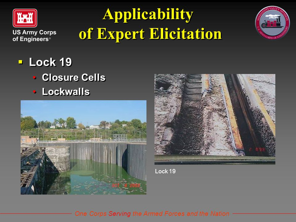 One Corps Serving the Armed Forces and the Nation Applicability of Expert Elicitation  Lock 19 Closure Cells Lockwalls  Lock 19 Closure Cells Lockwa