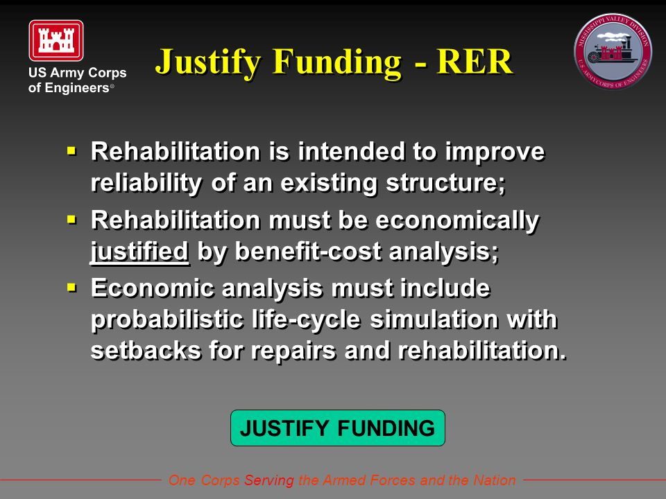 One Corps Serving the Armed Forces and the Nation Justify Funding - RER  Rehabilitation is intended to improve reliability of an existing structure;