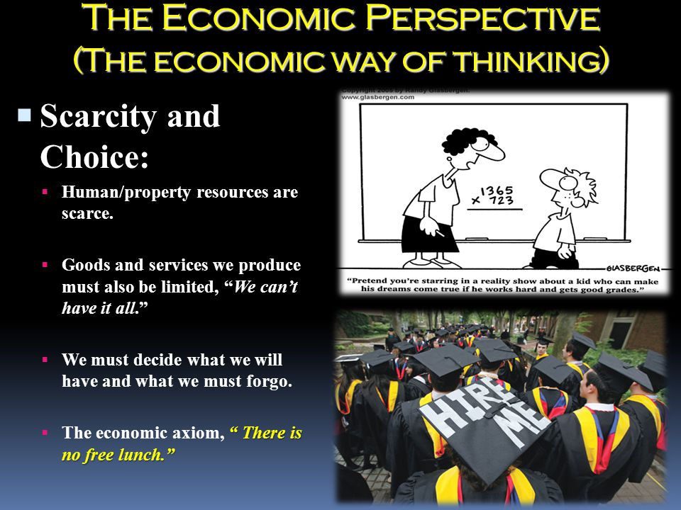 The Economic Perspective (The economic way of thinking)  Scarcity and Choice:  Human/property resources are scarce.