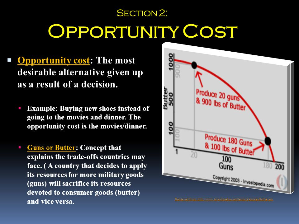  Opportunity cost: The most desirable alternative given up as a result of a decision.