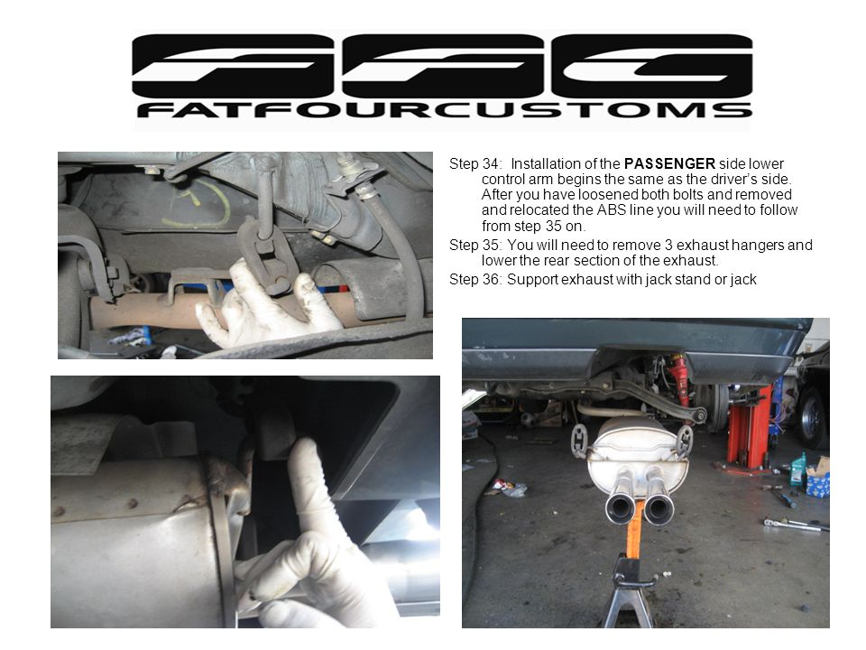 Step 34: Installation of the PASSENGER side lower control arm begins the same as the driver's side. After you have loosened both bolts and removed and