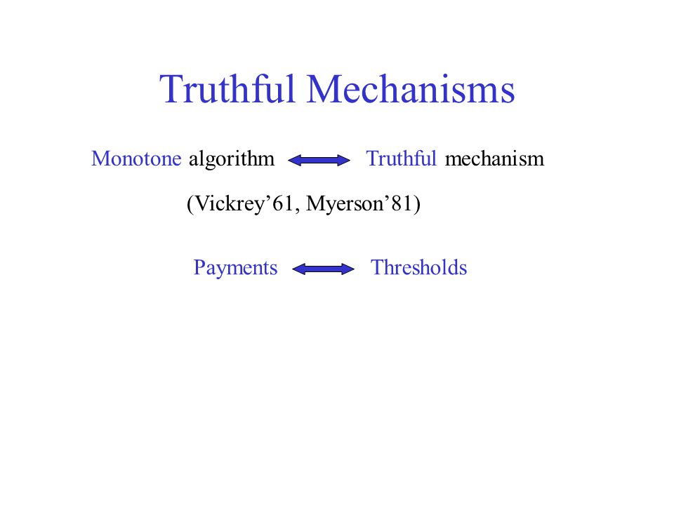 Truthful Mechanisms Monotone algorithm Truthful mechanism (Vickrey'61, Myerson'81) Payments Thresholds