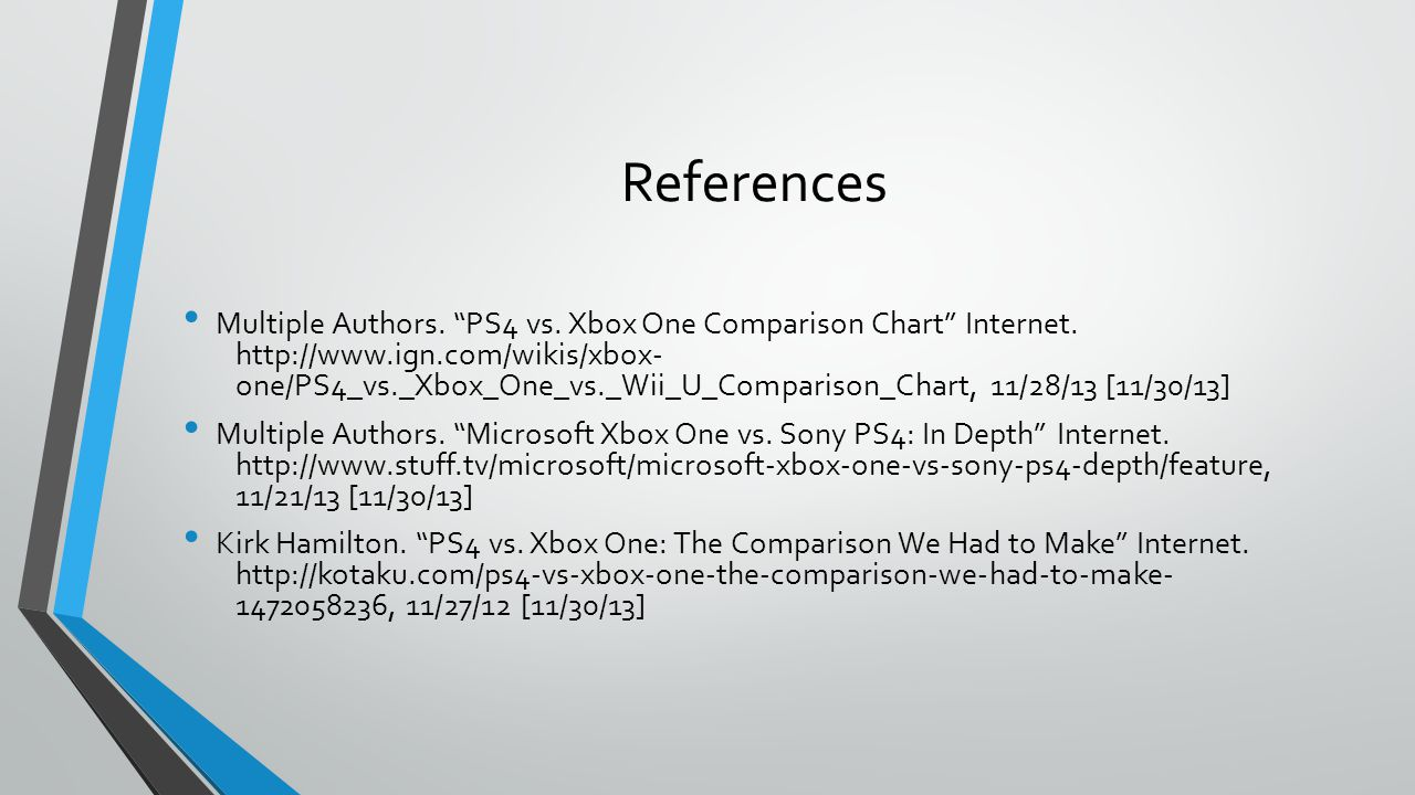 References Multiple Authors. PS4 vs. Xbox One Comparison Chart Internet.