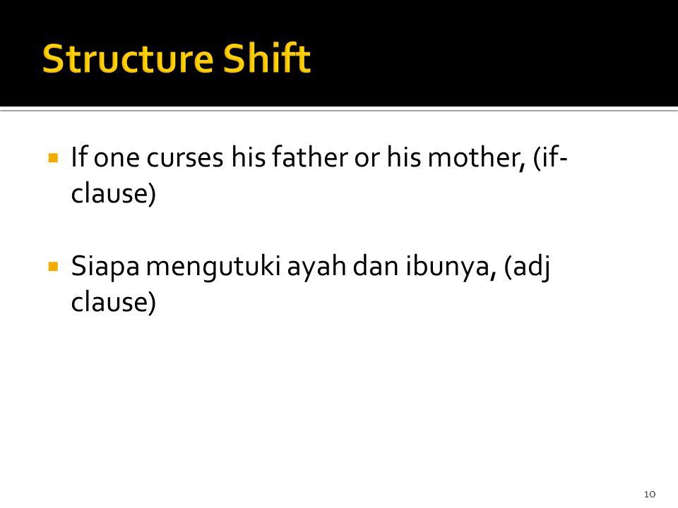  If one curses his father or his mother, (if- clause)  Siapa mengutuki ayah dan ibunya, (adj clause) 10