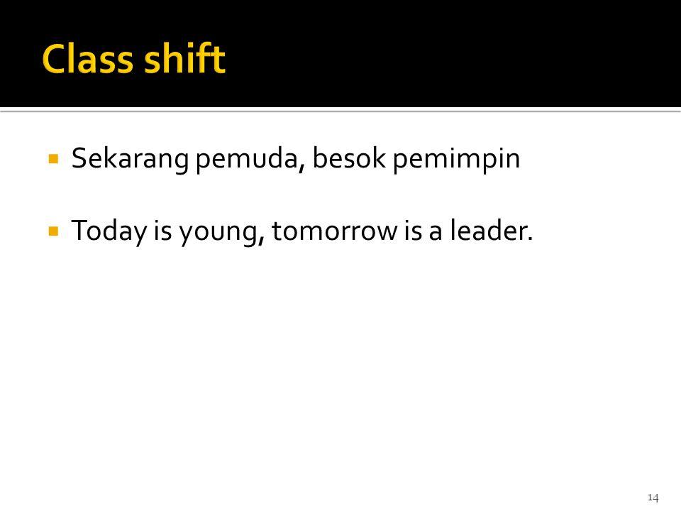  Sekarang pemuda, besok pemimpin  Today is young, tomorrow is a leader. 14