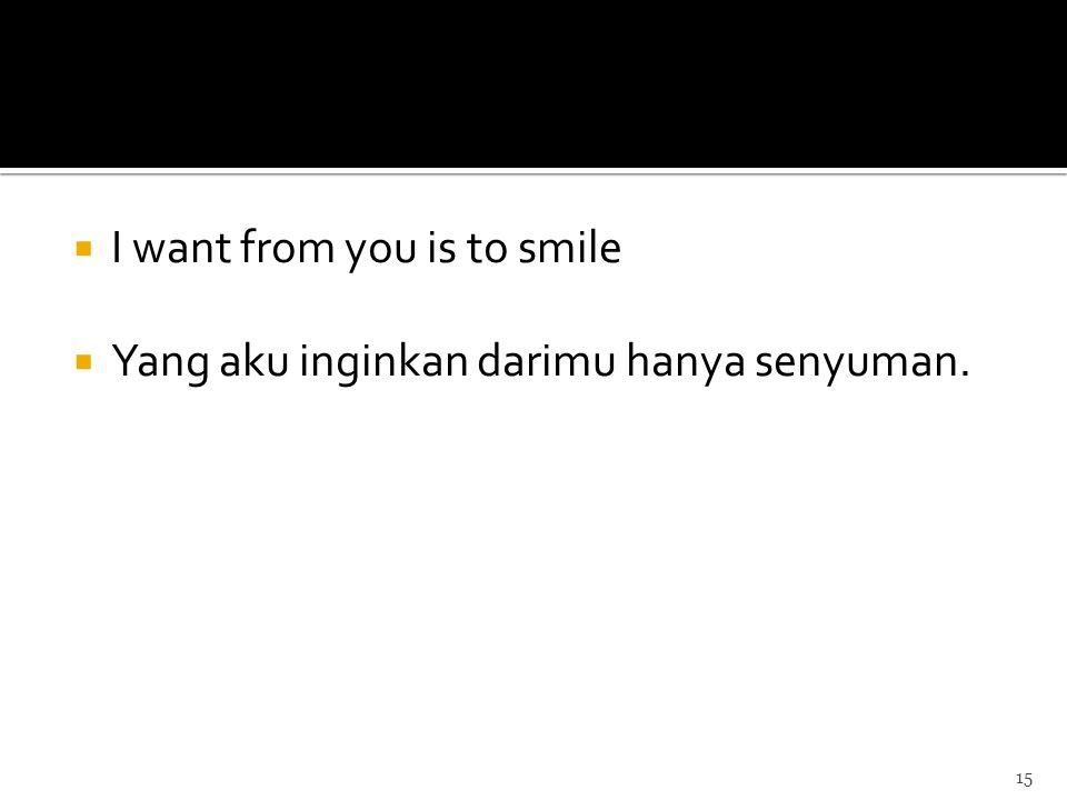  I want from you is to smile  Yang aku inginkan darimu hanya senyuman. 15