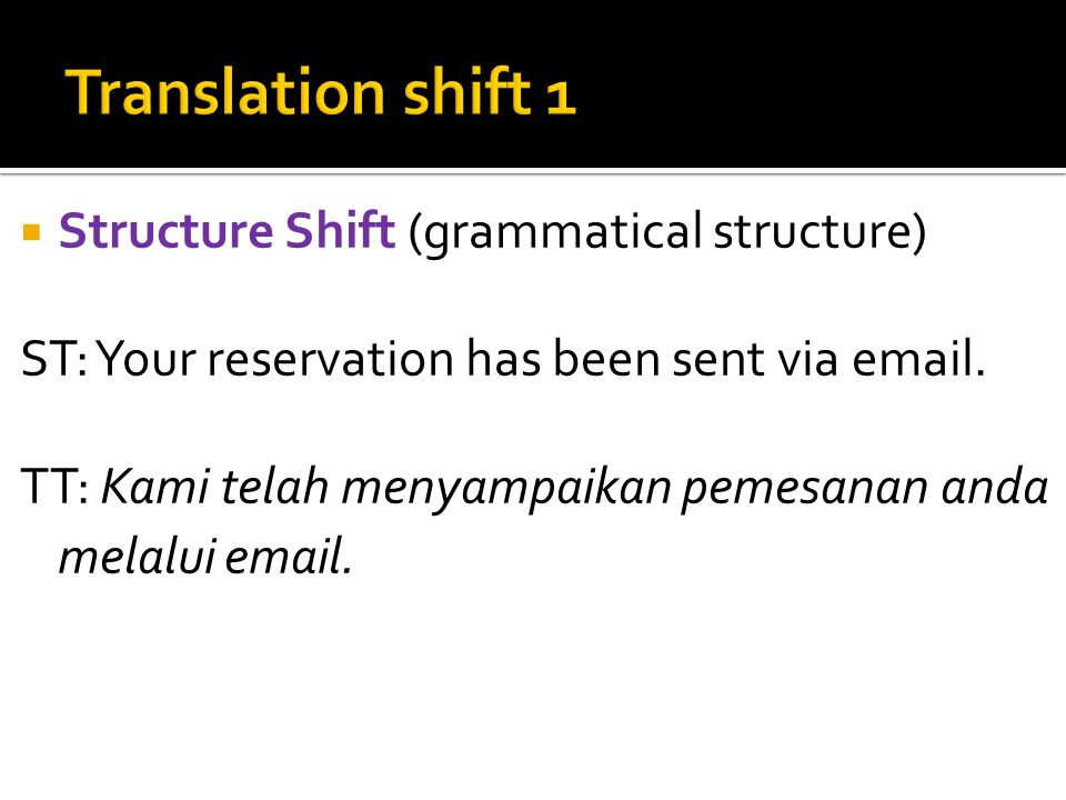  Structure Shift (grammatical structure) ST: Your reservation has been sent via email.