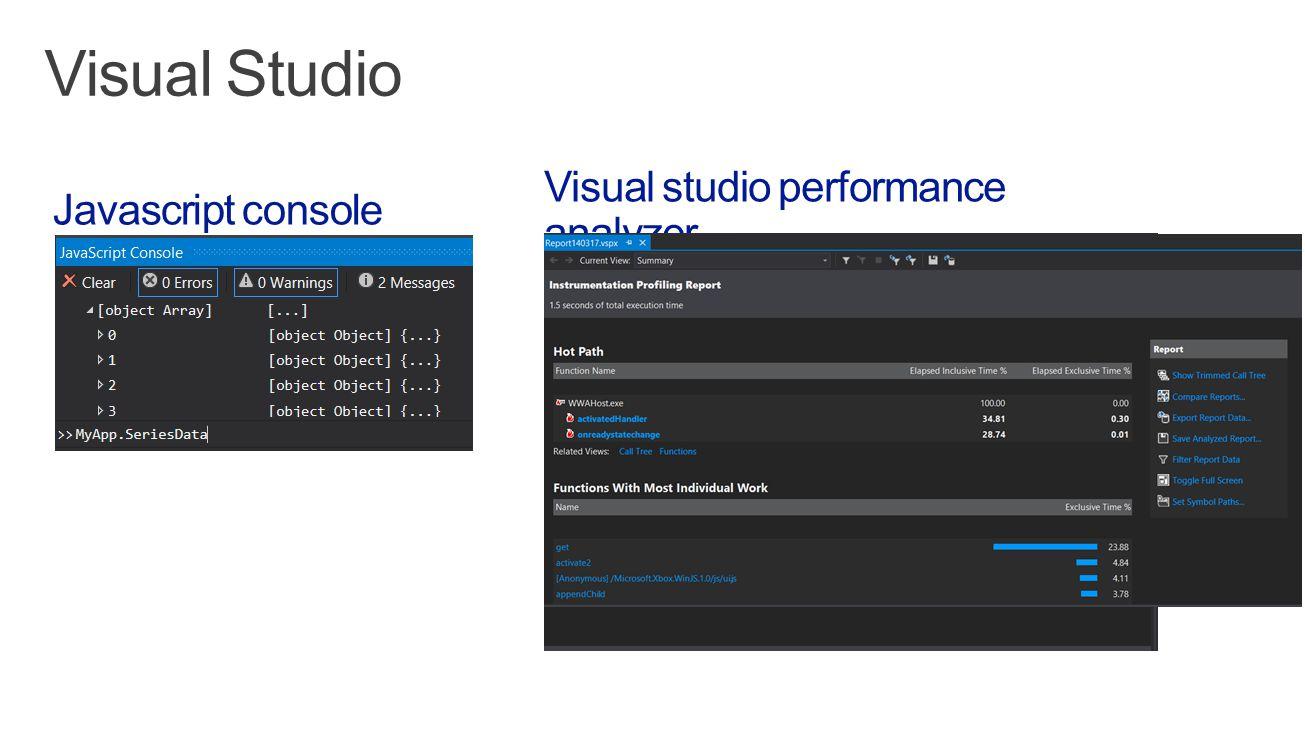 Visual studio performance analyzer Javascript console