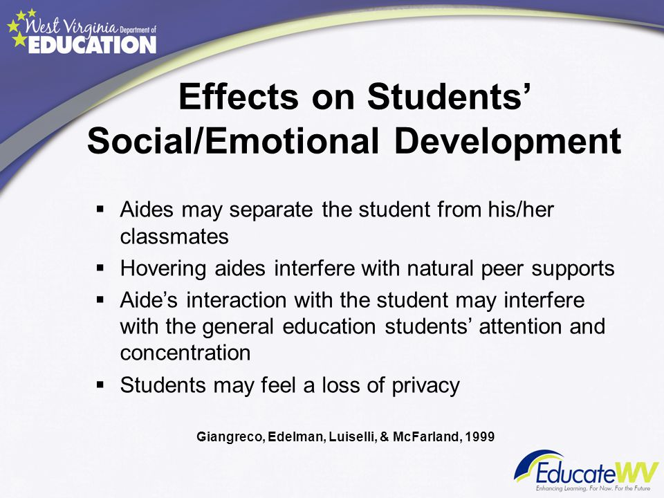 Effects on Students' Social/Emotional Development  Aides may separate the student from his/her classmates  Hovering aides interfere with natural pee