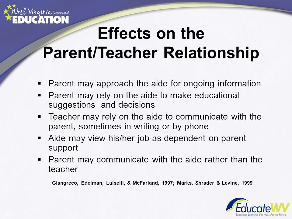 Effects on the Parent/Teacher Relationship  Parent may approach the aide for ongoing information  Parent may rely on the aide to make educational su