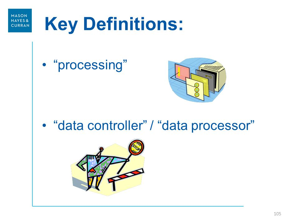 Key Definitions: 105 processing data controller / data processor