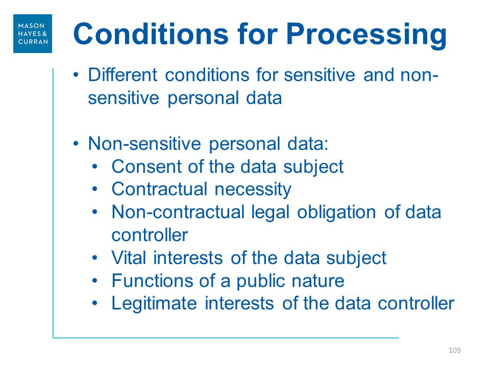 Conditions for Processing Different conditions for sensitive and non- sensitive personal data Non-sensitive personal data: Consent of the data subject Contractual necessity Non-contractual legal obligation of data controller Vital interests of the data subject Functions of a public nature Legitimate interests of the data controller 109