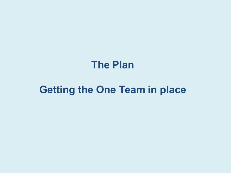 The Plan Getting the One Team in place
