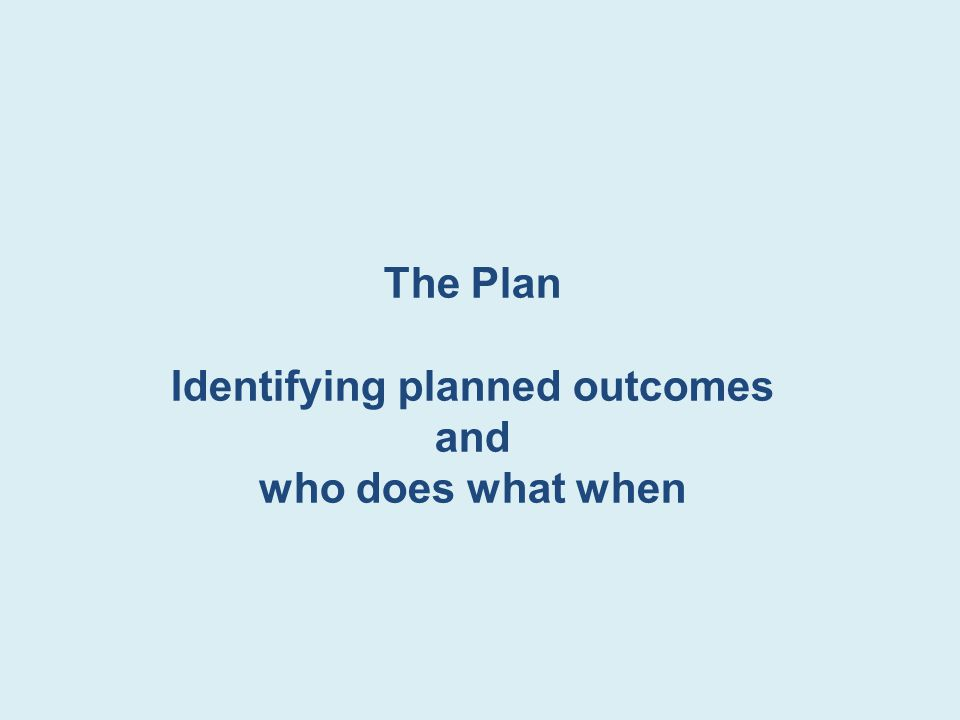 The Plan Identifying planned outcomes and who does what when