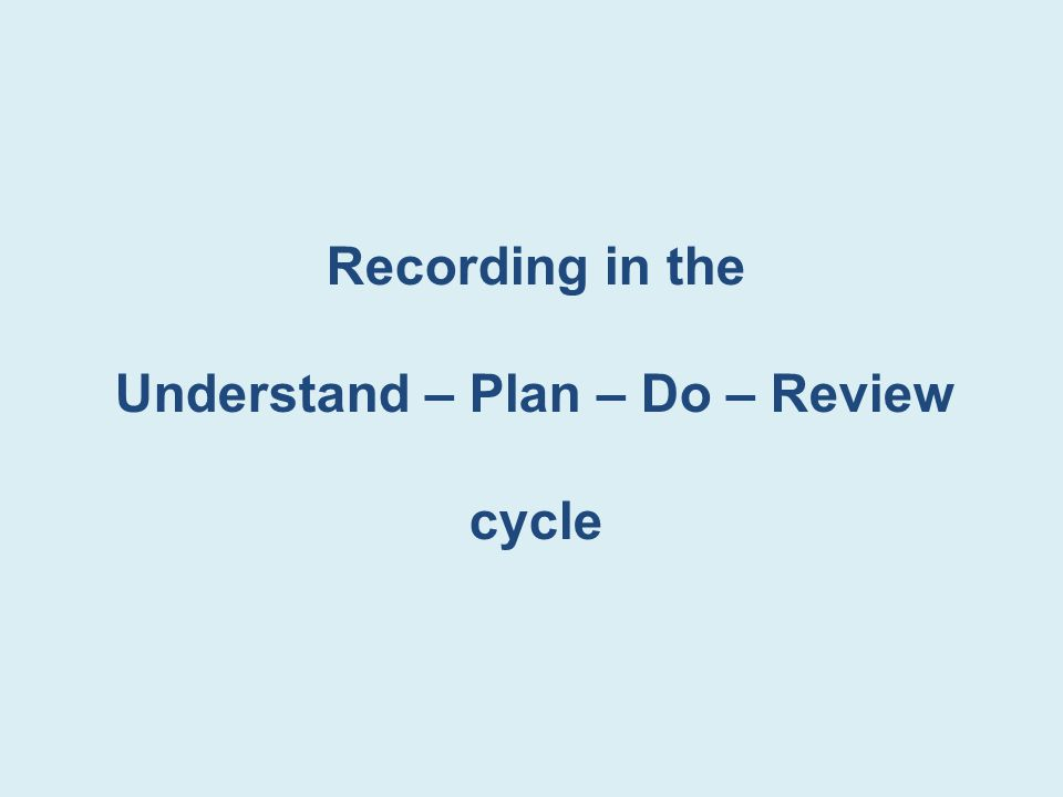 Recording in the Understand – Plan – Do – Review cycle