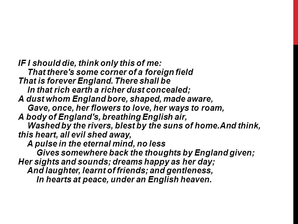 YOUR TASK.I want you to write your own poetry for World War One.