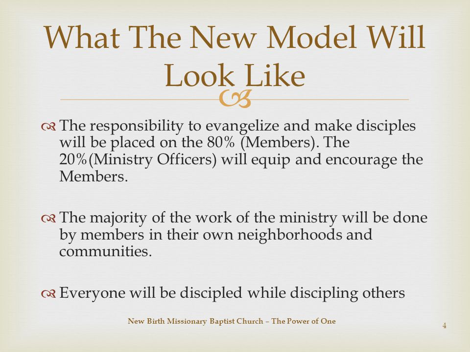   The responsibility to evangelize and make disciples will be placed on the 80% (Members).