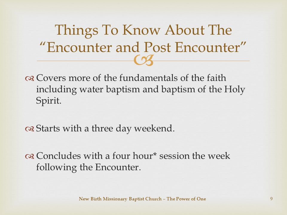   Covers more of the fundamentals of the faith including water baptism and baptism of the Holy Spirit.