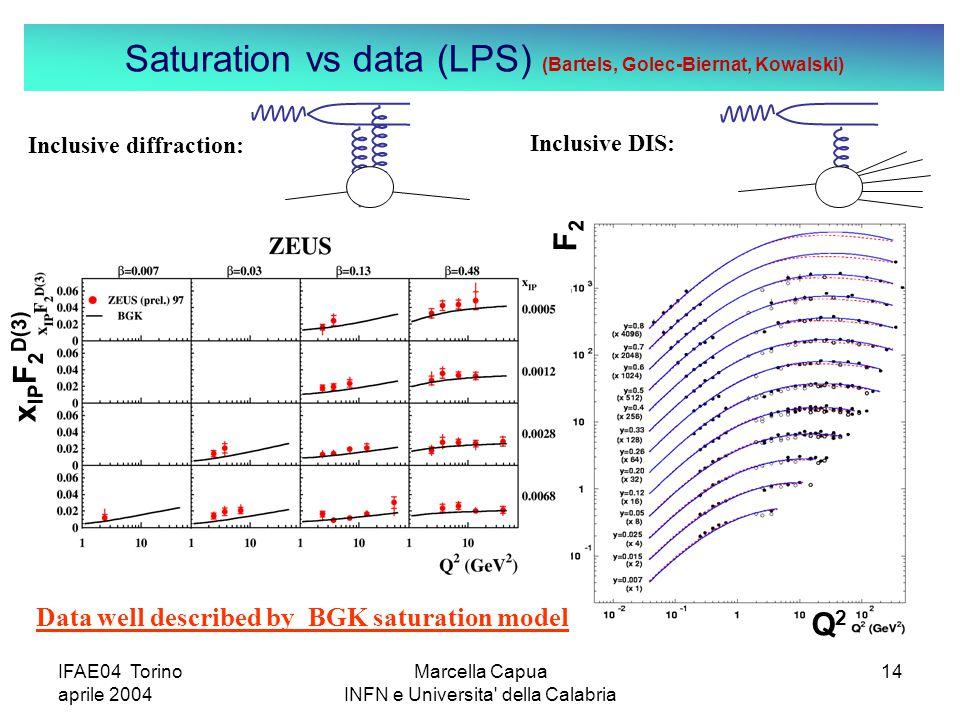 IFAE04 Torino aprile 2004 Marcella Capua INFN e Universita della Calabria 14 Saturation vs data (LPS) (Bartels, Golec-Biernat, Kowalski) Q2Q2 x IP F 2 D(3) F2F2 Inclusive diffraction: Inclusive DIS: Data well described by BGK saturation model