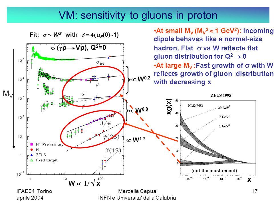 IFAE04 Torino aprile 2004 Marcella Capua INFN e Universita della Calabria 17 W   x MVMV VM: sensitivity to gluons in proton xg(x) x  W 0.2  W 0.8  W 1.7  (  p Vp), Q 2 =0 (not the most recent) Fit:  ~ W   with  P (0) -1) At small M V (M V 2  1  GeV 2 ): Incoming dipole behaves like a normal-size hadron.
