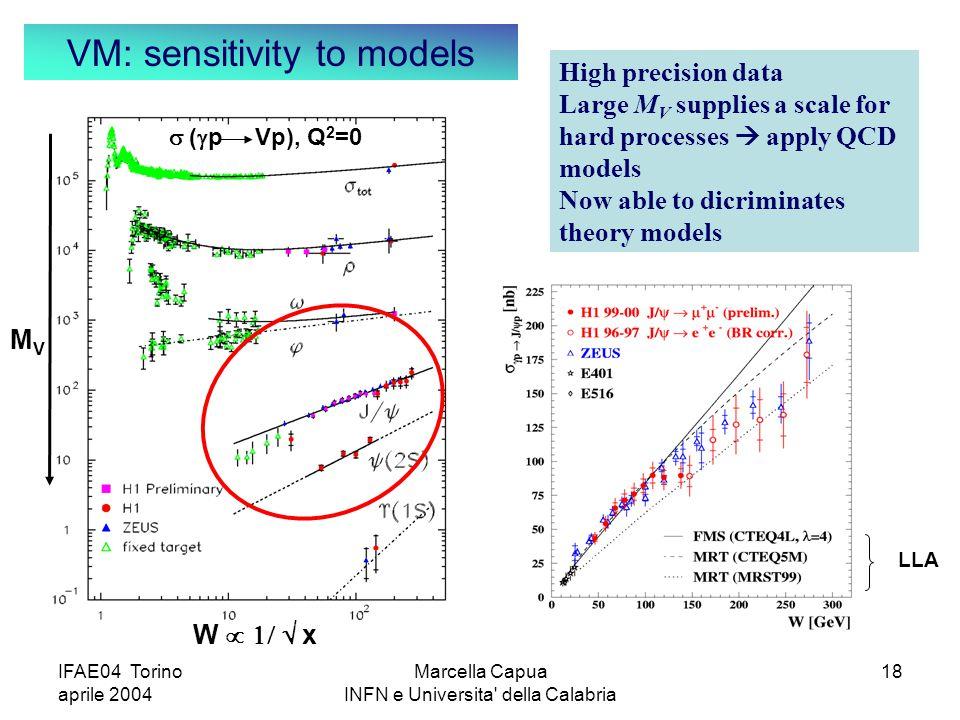 IFAE04 Torino aprile 2004 Marcella Capua INFN e Universita della Calabria 18  (  p Vp), Q 2 =0 W   x MVMV LLA High precision data Large M V supplies a scale for hard processes  apply QCD models Now able to dicriminates theory models VM: sensitivity to models