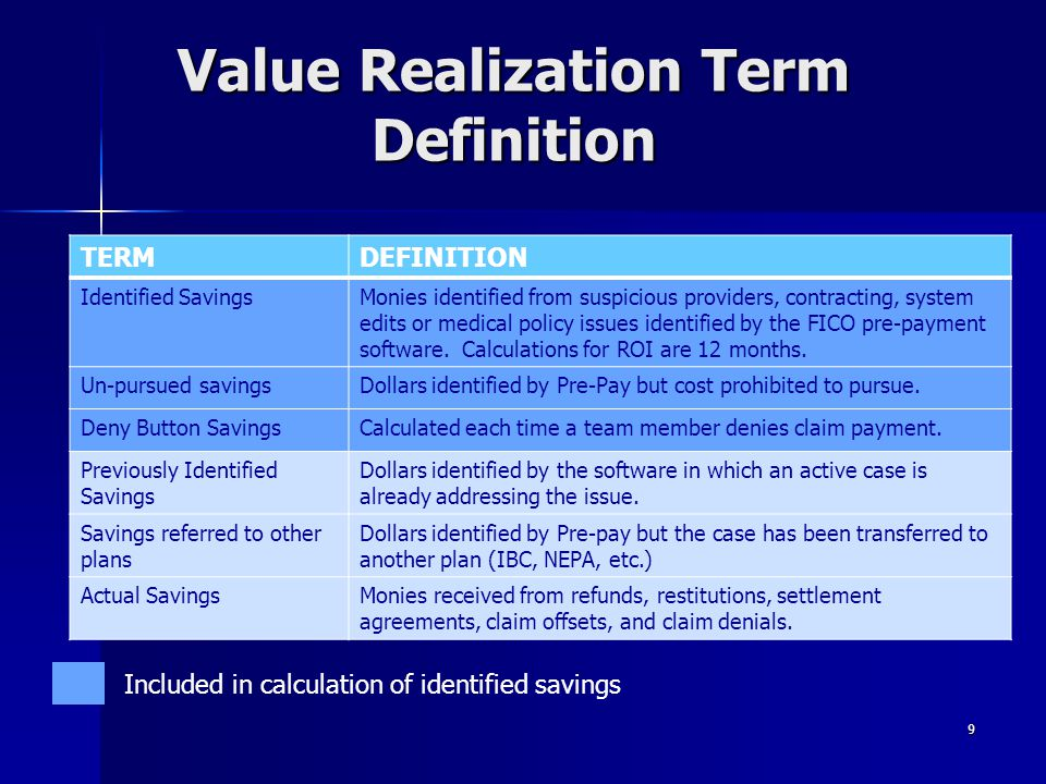Value Realization Term Definition TERMDEFINITION Identified SavingsMonies identified from suspicious providers, contracting, system edits or medical p