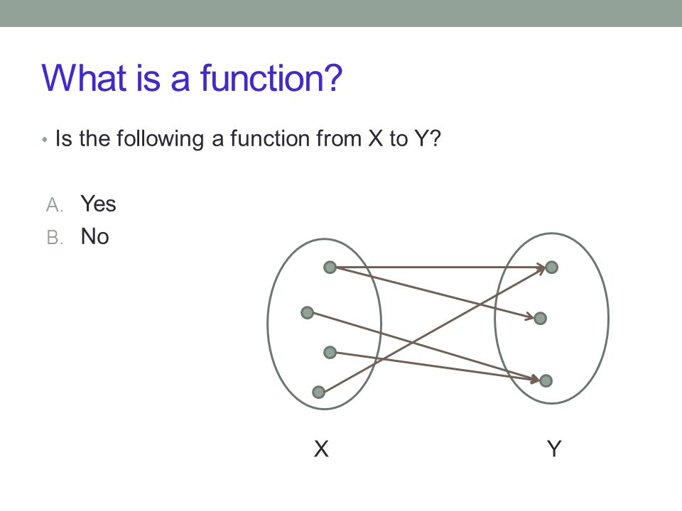 Is the following a function from X to Y A. Yes B. No XY