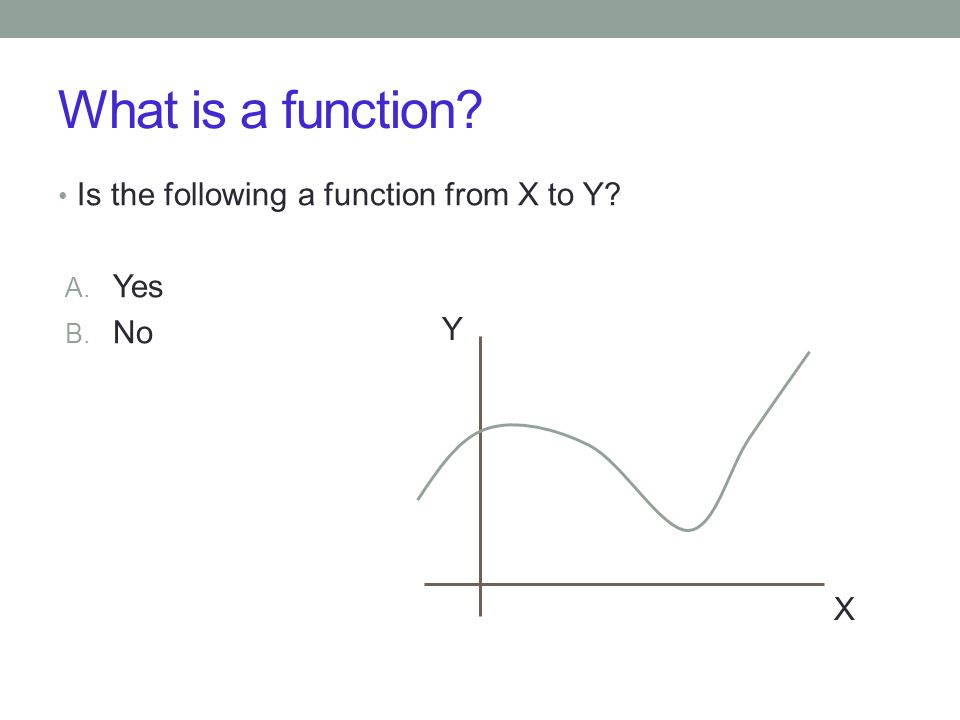 What is a function Is the following a function from X to Y A. Yes B. No X Y