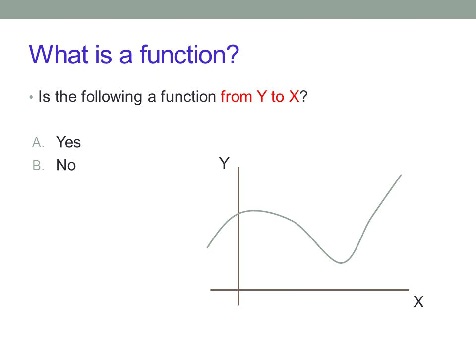 What is a function Is the following a function from Y to X A. Yes B. No X Y