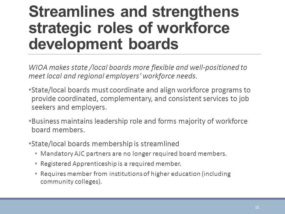 Streamlines and strengthens strategic roles of workforce development boards WIOA makes state /local boards more flexible and well-positioned to meet local and regional employers' workforce needs.