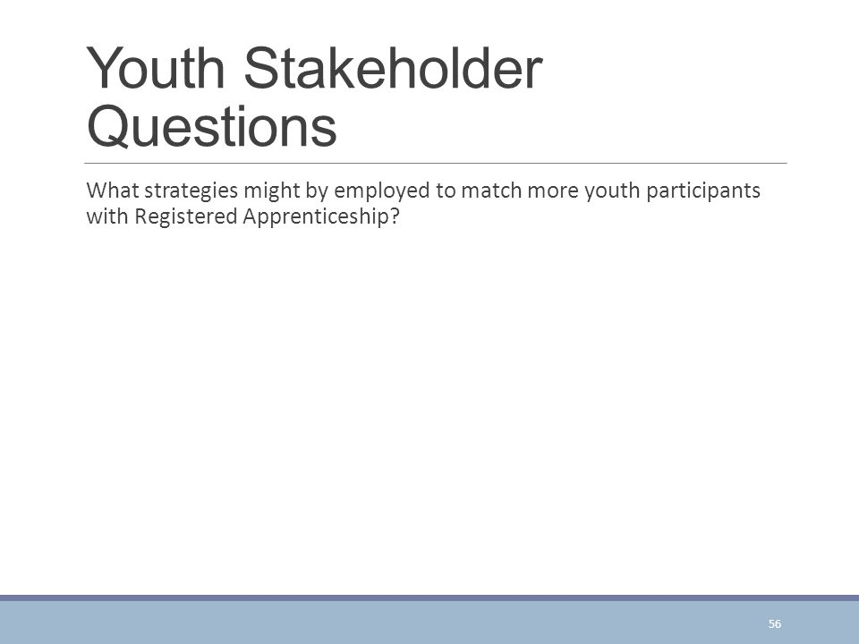 Youth Stakeholder Questions What strategies might by employed to match more youth participants with Registered Apprenticeship.