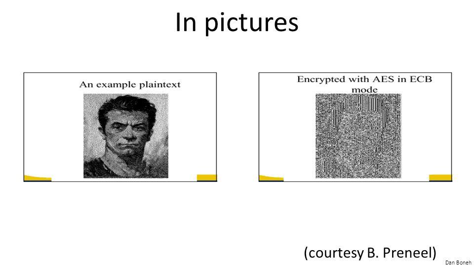 Dan Boneh Semantic Security (one-time key) Adv SS [A,OTP] = | Pr[ EXP(0) =1 ] − Pr[ EXP(1) =1 ] | should be neg. Chal.Adv.
