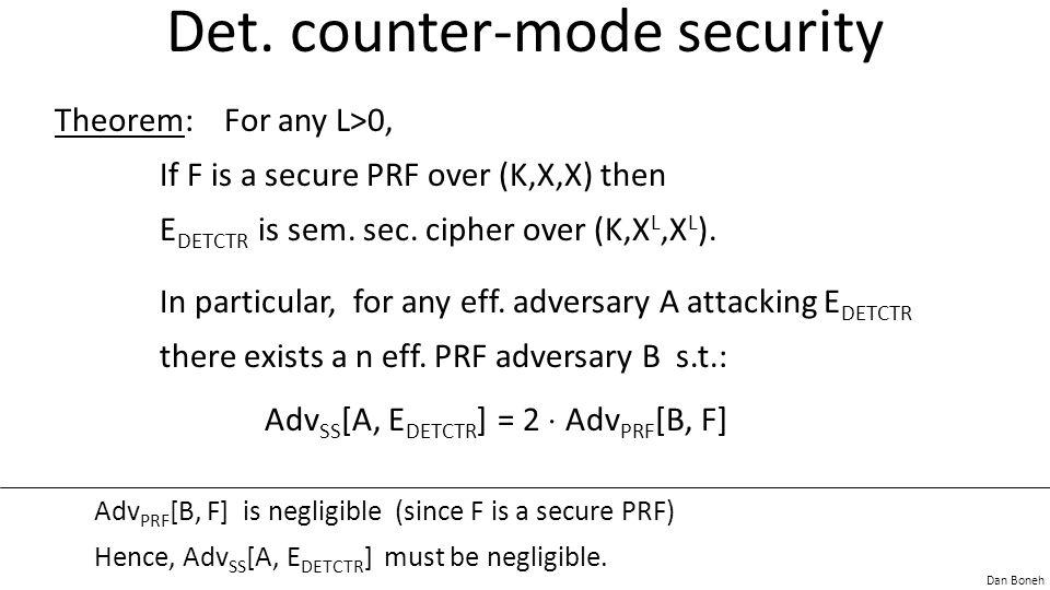Dan Boneh Det. counter-mode security Theorem: For any L>0, If F is a secure PRF over (K,X,X) then E DETCTR is sem. sec. cipher over (K,X L,X L ). In p