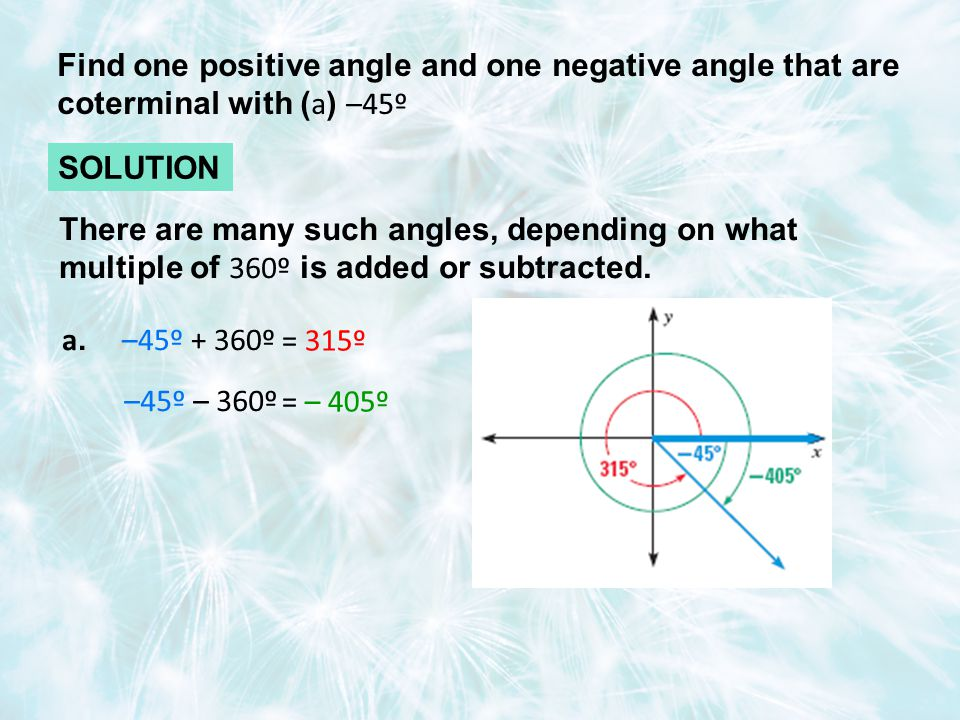 Find one positive angle and one negative angle that are coterminal with ( a ) –45º SOLUTION a.