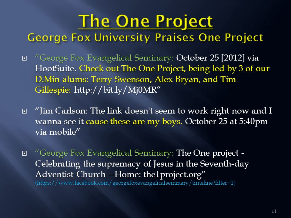     George Fox Evangelical Seminary: October 25 [2012] via HootSuite.
