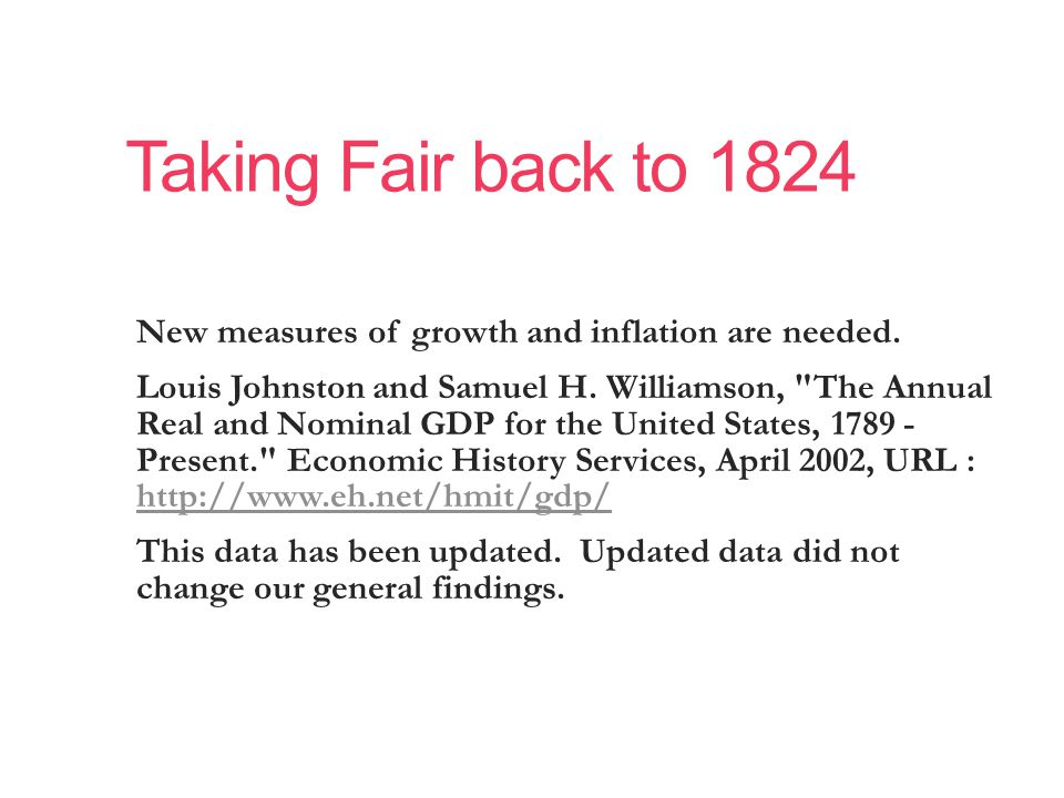 Taking Fair back to 1824 New measures of growth and inflation are needed.