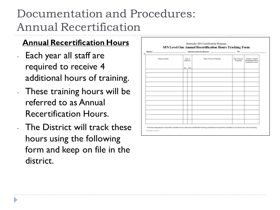 Documentation and Procedures: Annual Recertification Annual Recertification Hours - Each year all staff are required to receive 4 additional hours of training.