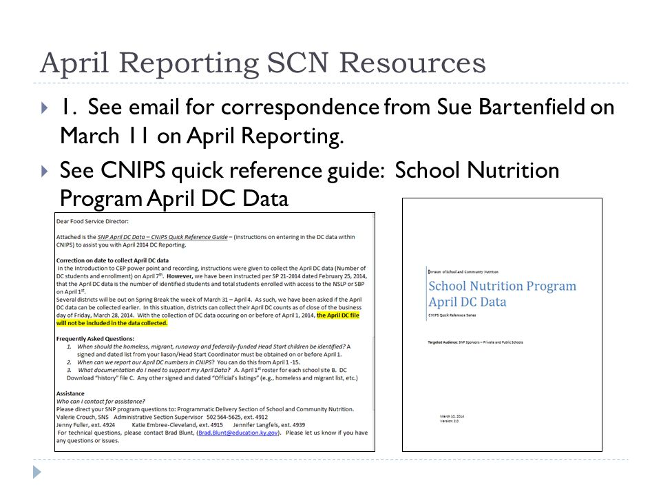 April Reporting SCN Resources  1.