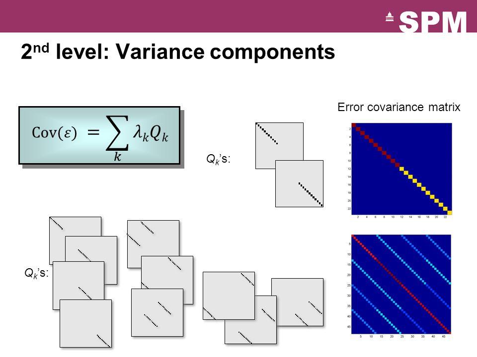 2 nd level: Variance components Error covariance matrix Q k 's: