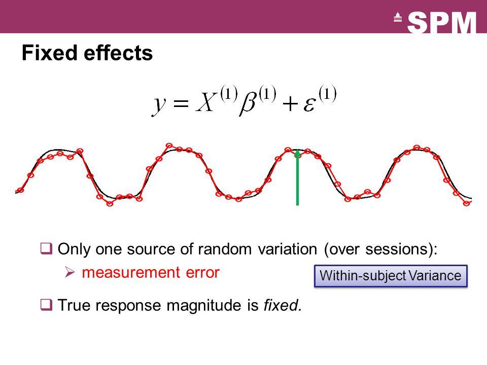 Random effects Within-subject Variance Between-subject Variance  Two sources of random variation:  measurement errors  response magnitude (over subjects)  Response magnitude is random  each subject/session has random magnitude