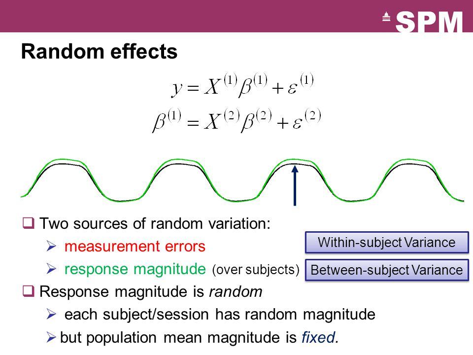 Probability model underlying random effects analysis Random effects