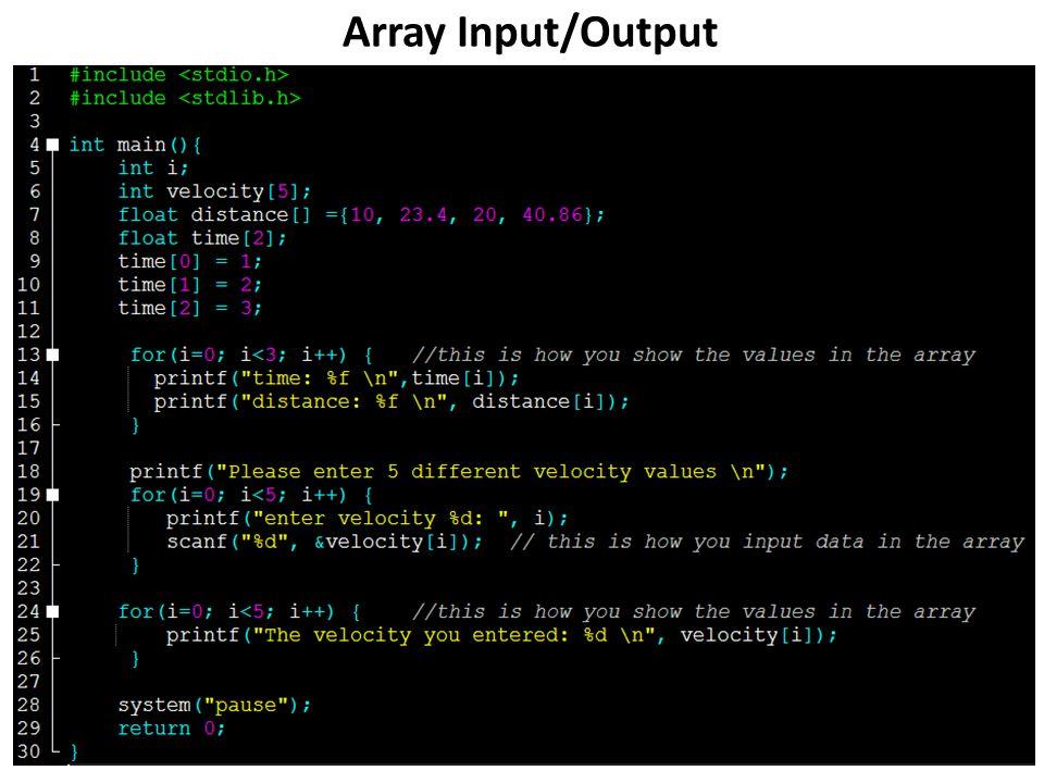 Array Input/Output