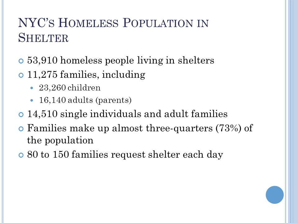 NYC' S H OMELESS P OPULATION IN S HELTER 53,910 homeless people living in shelters 11,275 families, including 23,260 children 16,140 adults (parents) 14,510 single individuals and adult families Families make up almost three-quarters (73%) of the population 80 to 150 families request shelter each day